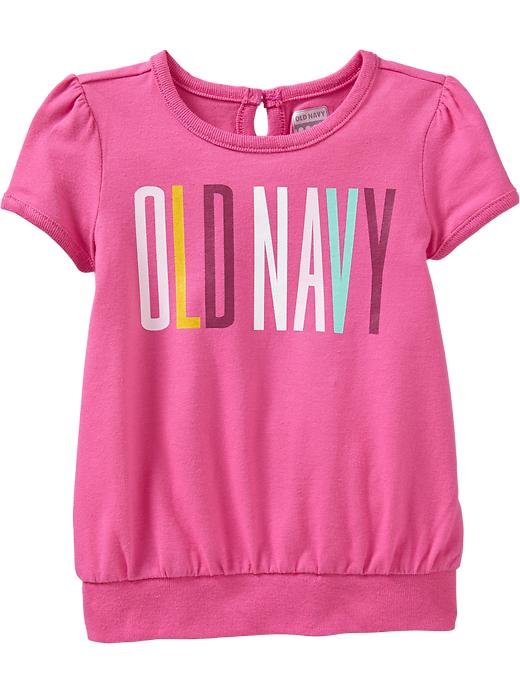 Old Navy Puff Sleeve Logo Tees For Baby - Pink dynamite - Old Navy Canada