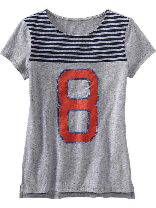 Old Navy Girls Striped Yoke Sequin Graphic Tees - Heather gray