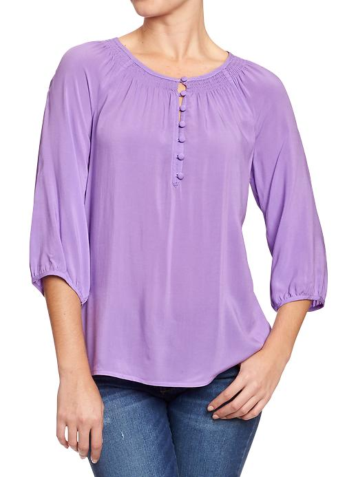 Old Navy Women's Smocked Neck Boho Tops - French violet - Old Navy Canada
