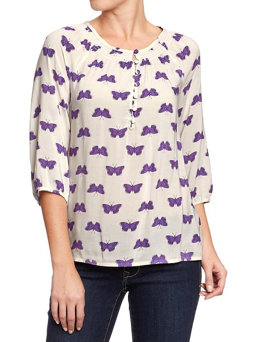 Old Navy Women's Smocked Neck Boho Tops - Purple butterfly - Old Navy Canada