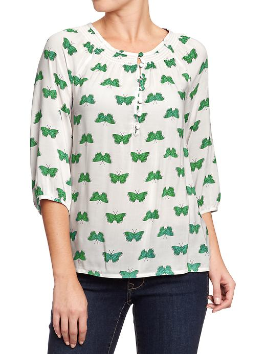 Old Navy Women's Smocked Neck Boho Tops - Green butterfly - Old Navy Canada