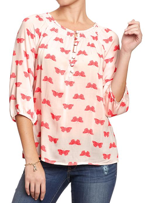 Old Navy Women's Smocked Neck Boho Tops - Pink butterfly - Old Navy Canada