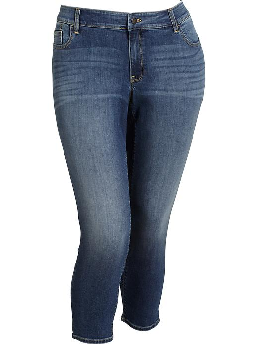 Old Navy Women's Plus The Rockstar Mid Rise Cropped Jeans - Medium wash - Old Navy Canada