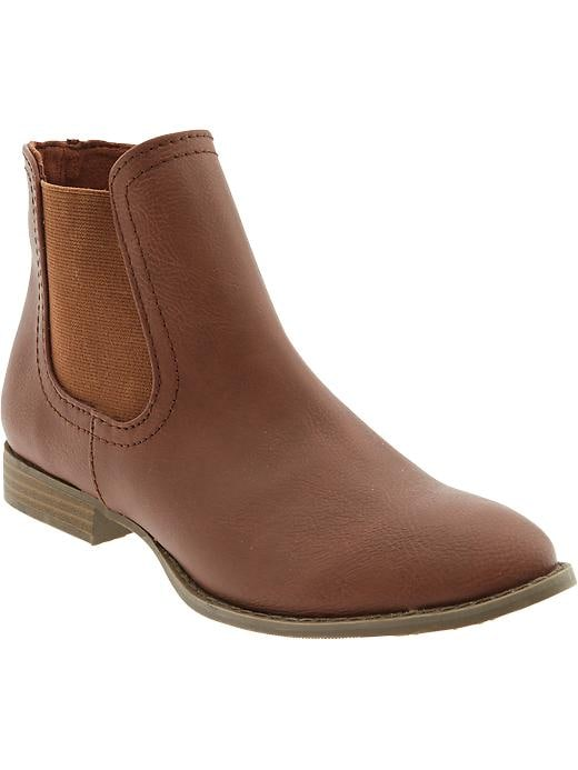 Old Navy Women's Faux Leather Ankle Boots - Whiskey - Old Navy Canada