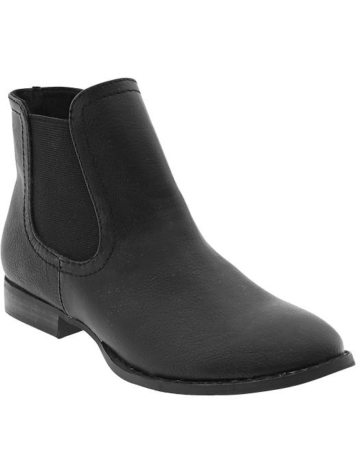 Old Navy Women's Faux Leather Ankle Boots - Black - Old Navy Canada
