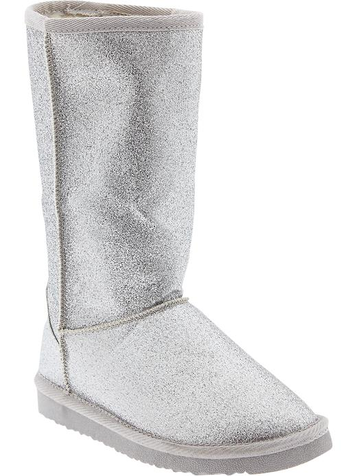 Old Navy Girls Faux Fur Lined Glitter Boots - Silver - Old Navy Canada