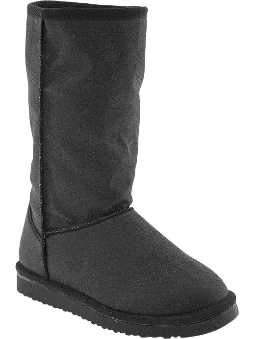 Old Navy Girls Faux Fur Lined Glitter Boots - New black - Old Navy Canada