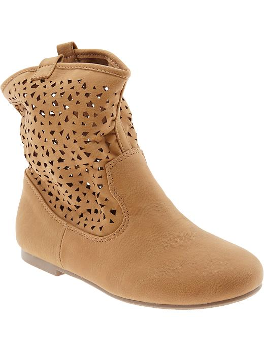 Old Navy Girls Perforated Faux Leather Boots - Tan - Old Navy Canada