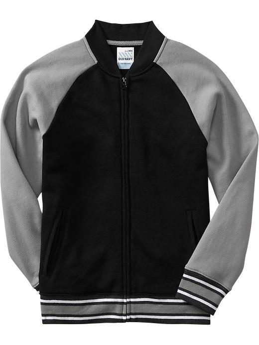 Old Navy Boys Raglan Sleeve Fleece Jackets - Black jack
