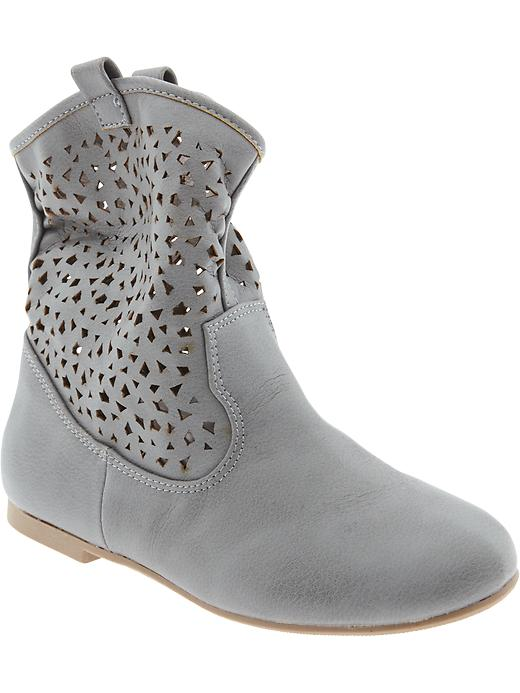 Old Navy Girls Perforated Faux Leather Boots - New black - Old Navy Canada