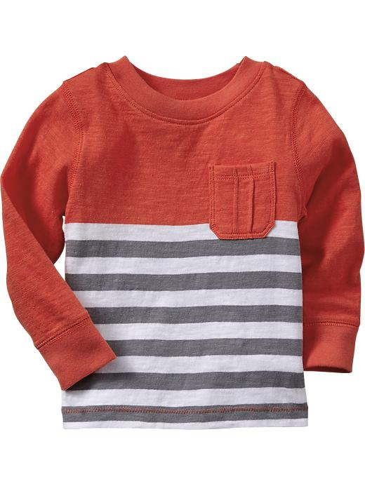 Old Navy Color Block Stripe Slub Knit Tees For Baby - Torch song