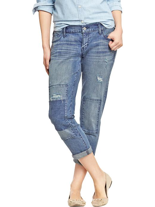 Old Navy Women's The Boyfriend Distressed Patch Jeans - Loved to death - Old Navy Canada