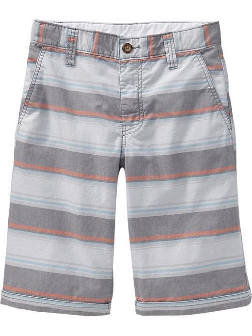 Old Navy Boys Flat Front Cuffed Shorts - Grey multi stripe