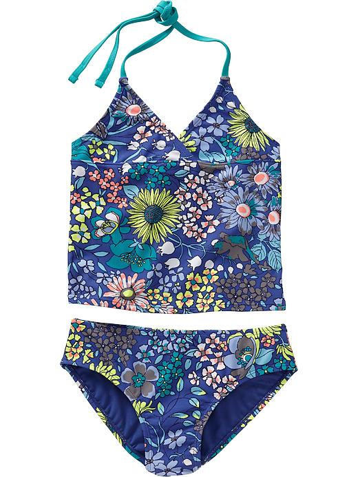Old Navy Girls Floral Print Halter Tankinis - Blue floral