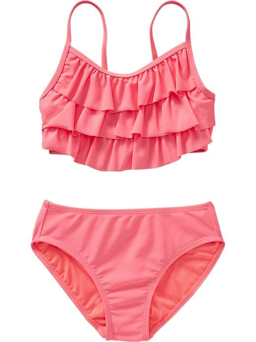 Old Navy Girls Ruffle Tiered Bikinis - Pinker still neon nyln - Old Navy Canada