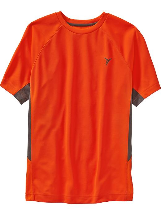 Boys Active By Old Navy Color Block Mesh Tees - Bet on red neon poly - Old Navy Canada