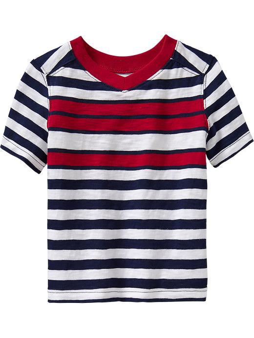 Old Navy Striped V Neck Tees For Baby - Red stripe
