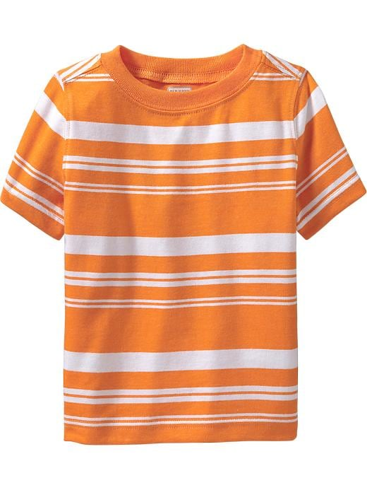 Old Navy Striped Crew Neck Tees For Baby - Golden poppy