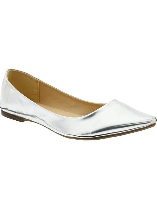 Old Navy Women's Pointed Ballet Flats - Silver - Old Navy Canada