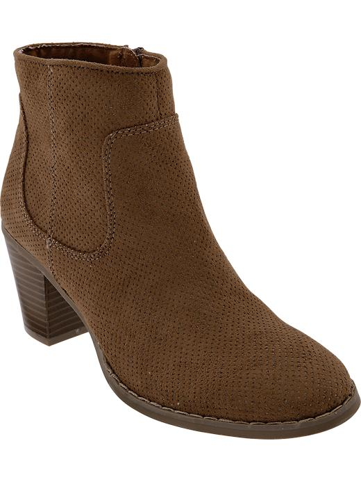 Old Navy Women's Perforated Faux Suede Ankle Boots - Brown - Old Navy Canada