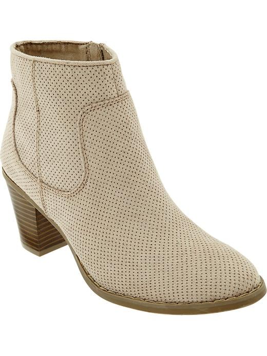 Old Navy Women's Perforated Faux Suede Ankle Boots - Sand - Old Navy Canada