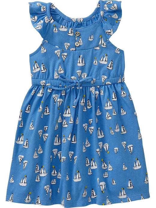 Old Navy Flutter Sleeve Jersey Dresses For Baby - Azure like you