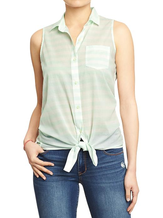 Old Navy Women's Sleeveless Tie Top Shirts - Lime stripe - Old Navy Canada