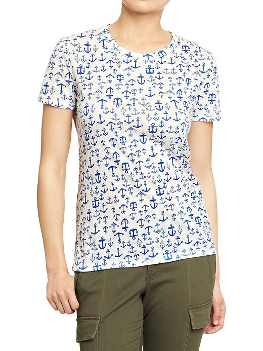 Old Navy Women's Printed Slub Knit Tees - Blue