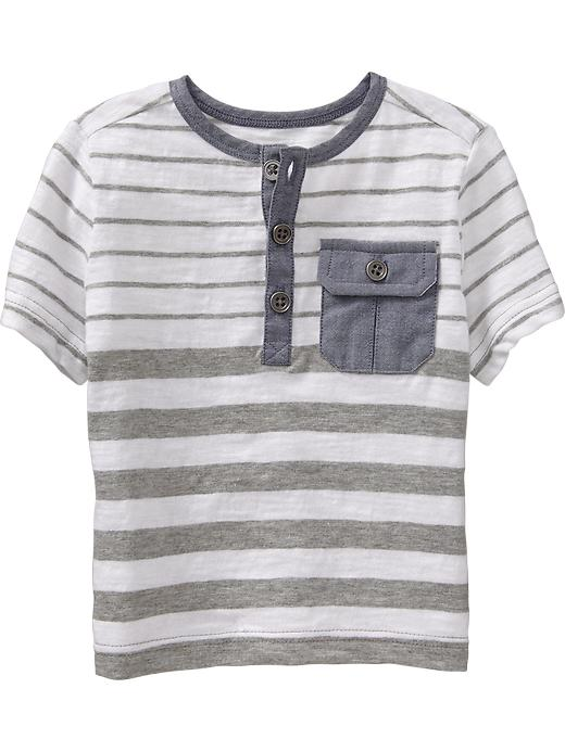 Old Navy Striped Chambray Henleys For Baby - Heather gray