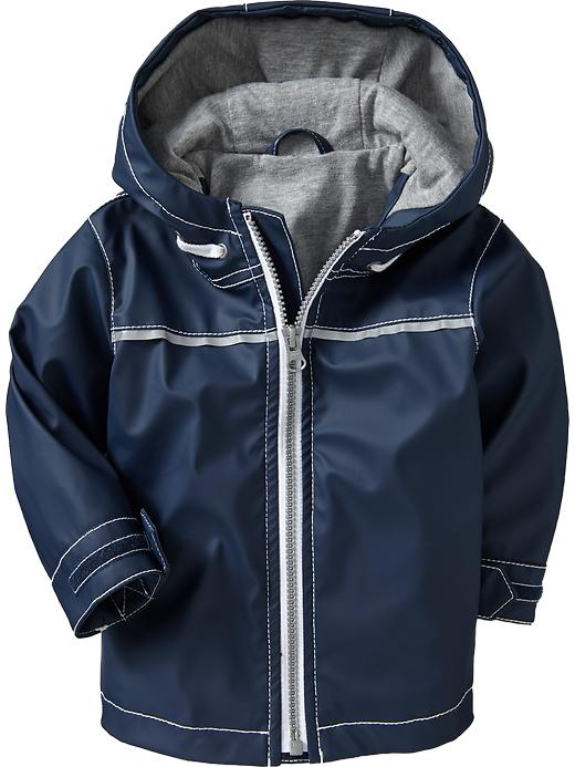 Old Navy Hooded Jersey Lined Raincoats For Baby - In the navy