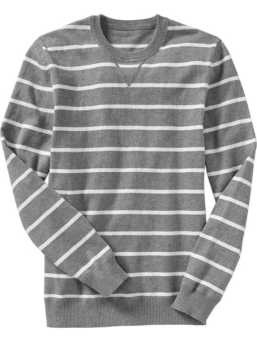 Old Navy Men's Striped Crew Neck Sweaters - Gray stripe