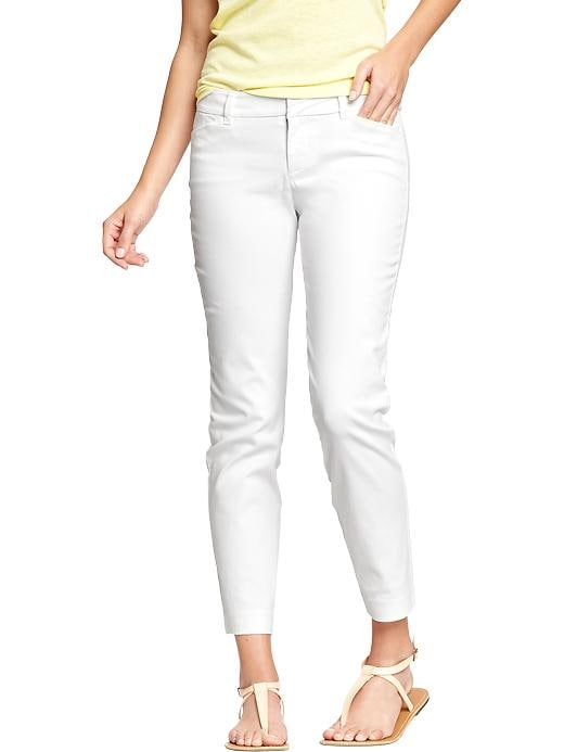 Old Navy Women's The Pixie Twill Skinny Ankle Pants - Bright white - Old Navy Canada