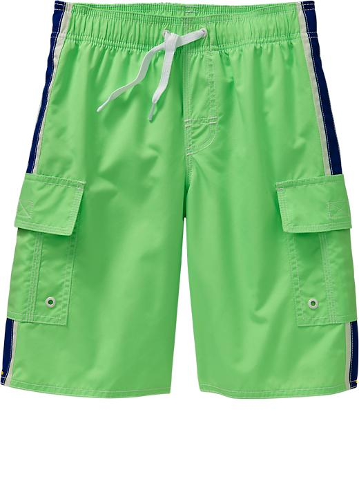 Old Navy Boys Side Stripe Cargo Swim Trunks - Glowing green neon