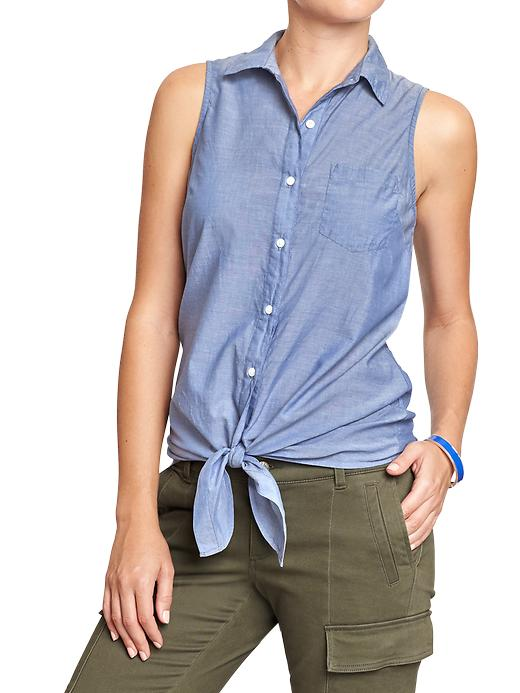 Old Navy Women's Sleeveless Tie Waist Tops - Mid tone chambray - Old Navy Canada