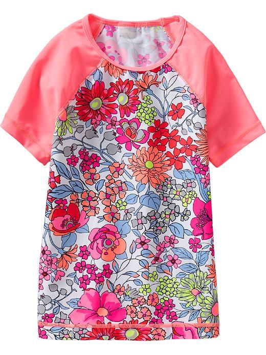 Old Navy Girls Floral Print Rashguards - Pinker still neon nyln