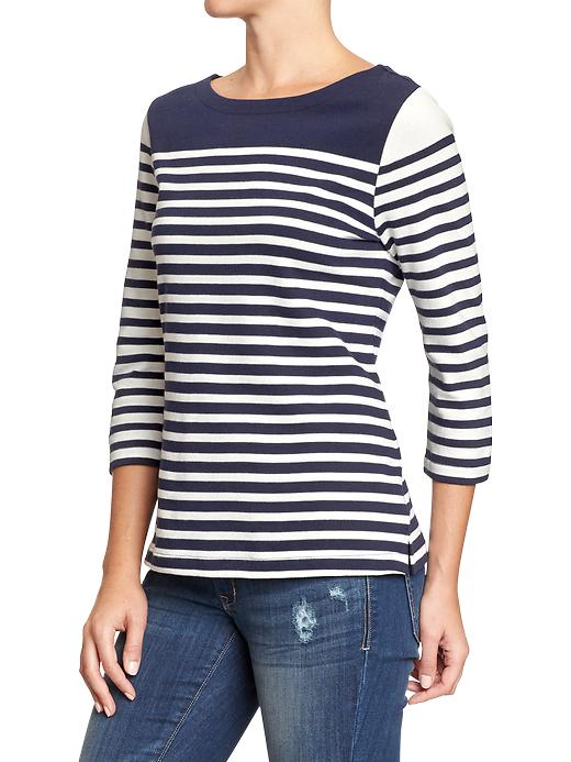 Old Navy Women's Mixed Stripe Textured Rib Tops - Navy stripe