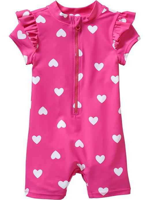 Old Navy Printed Swim One Pieces For Baby - Pink hearts - Old Navy Canada
