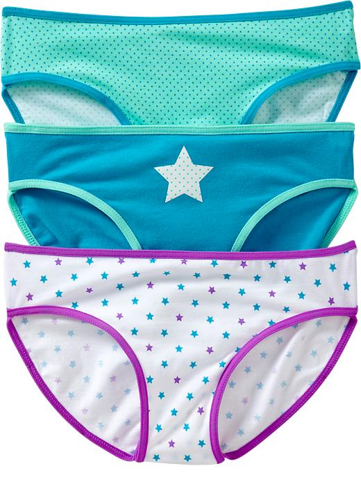 Old Navy Girls Printed Bikini Underwear 3 Packs - Purple star - Old Navy Canada