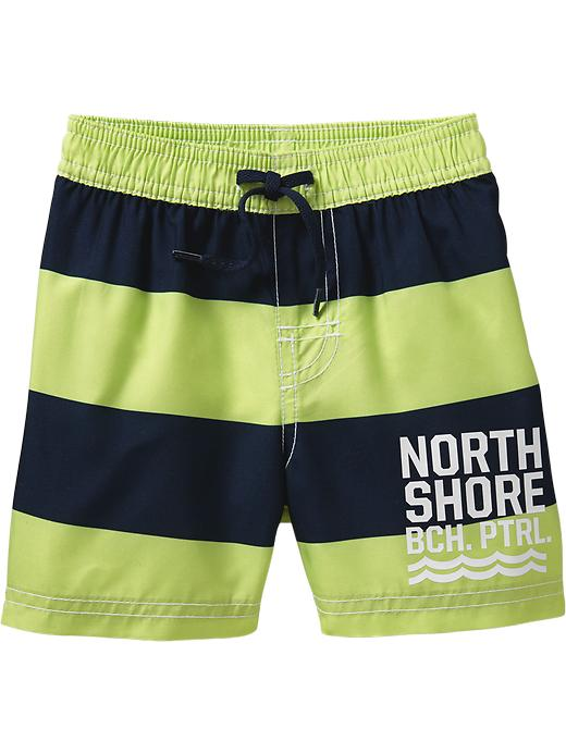 Old Navy Striped Swim Shorts For Baby - Lime stripe