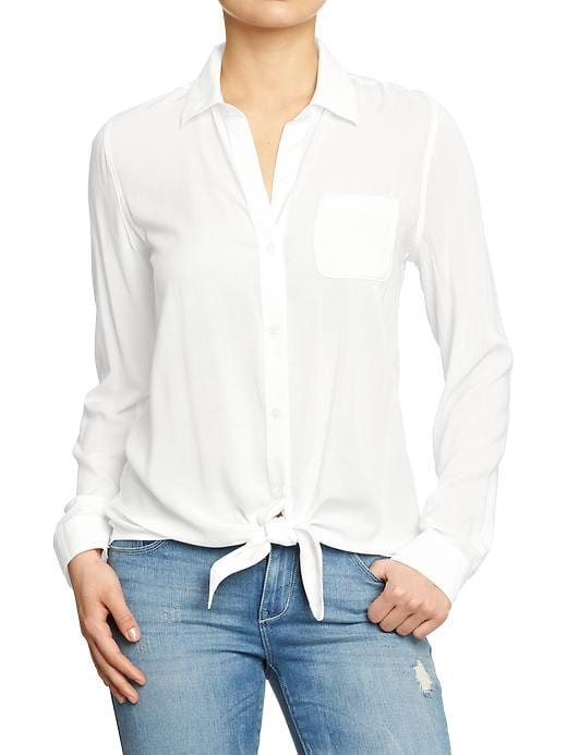 Old Navy Women's Tie Front Blouses - Sea salt - Old Navy Canada