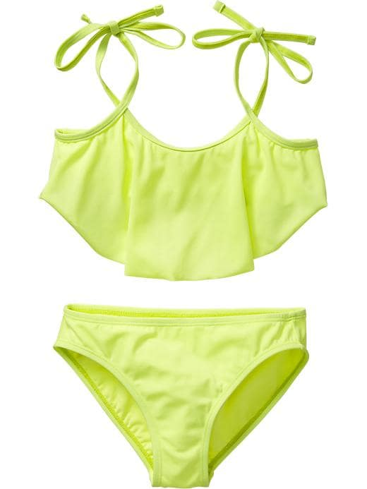 Old Navy Girls Ruffled Tie Strap Bikinis - Neon yellow highlightr - Old Navy Canada