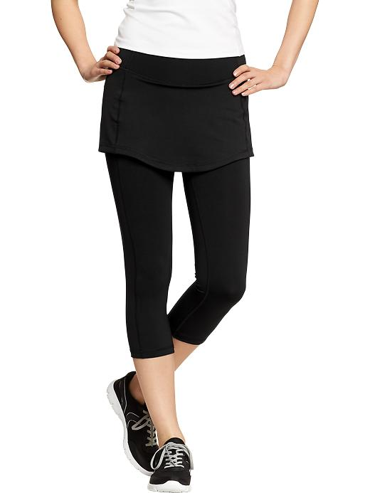 Women's Active By Old Navy Skirted Compression Capris - Black jack - Old Navy Canada