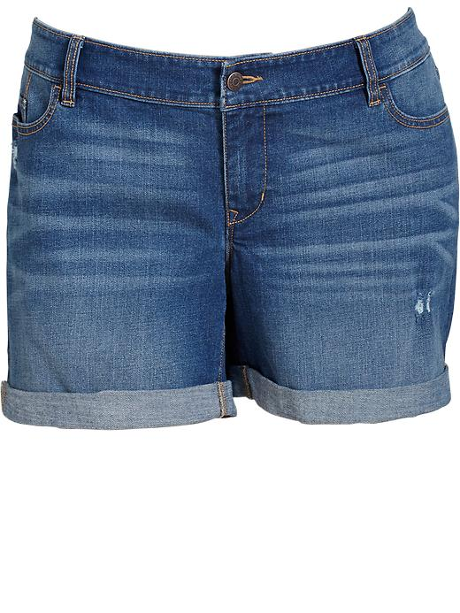 "Old Navy Women's Plus Cuffed Denim Shorts (5"") - Medium wash - Old Navy Canada"