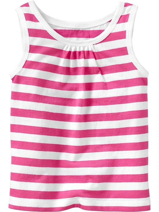 Old Navy Shirred Yoke Printed Tanks For Baby - Pink stripe - Old Navy Canada