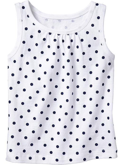 Old Navy Shirred Yoke Printed Tanks For Baby - Navy dot - Old Navy Canada