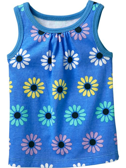 Old Navy Shirred Yoke Printed Tanks For Baby - Blue floral - Old Navy Canada