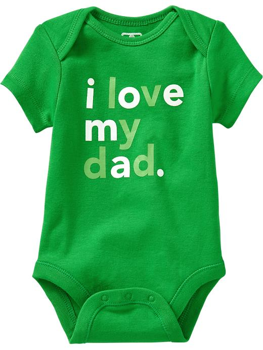 """Old Navy """"i Love My..."""" Graphic Bodysuits For Baby - Beach cruiser green"""