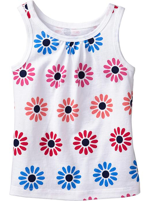 Old Navy Shirred Yoke Printed Tanks For Baby - White floral - Old Navy Canada