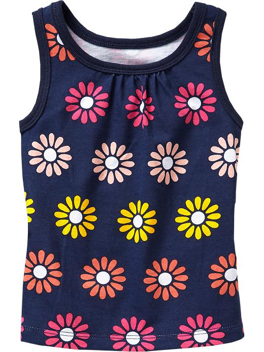 Old Navy Shirred Yoke Printed Tanks For Baby - Navy floral - Old Navy Canada