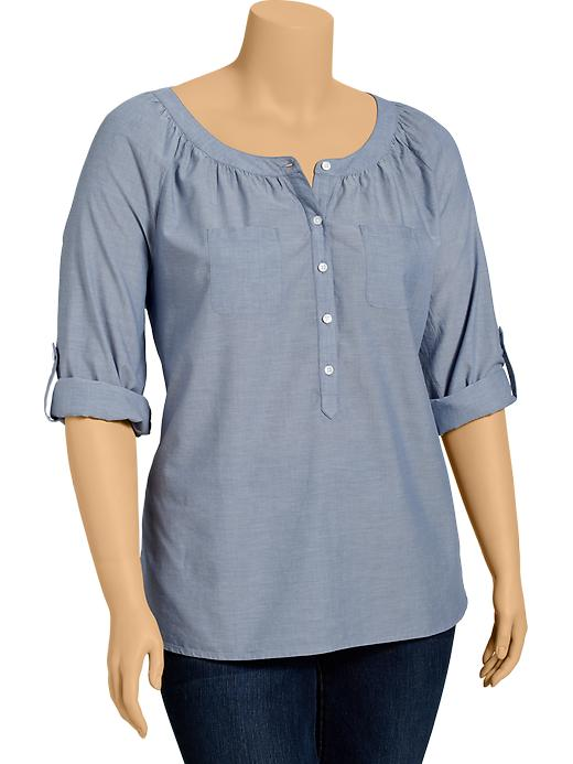 Old Navy Women's Plus Chambray Button Front Tops - Mid tone chambray - Old Navy Canada